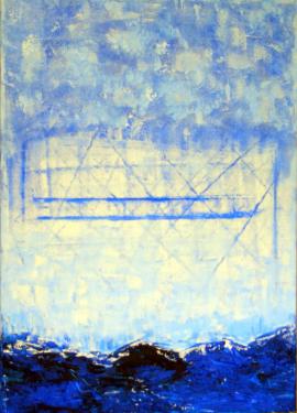 """201406-01 - Bridge over Troubled Water - Acryl auf Leinwand 50x70 Eine Brücke? Woher - wohin? Eine Freilichtbühne? Wofür?  Memories of """"Mothman""""? Was soll sich ereignen? Manchmal steht die Zeit einfac"""